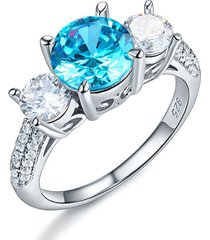 925 sterling silver 3-stone bridal ring 2 carat created blue diamond vintage