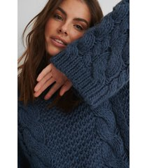 na-kd trend chunky cable knitted sweater - blue
