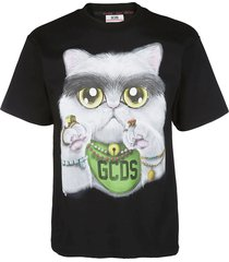 gcds black cotton t-shirt