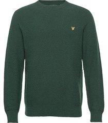 basket weave knitted jumper stickad tröja m. rund krage grön lyle & scott