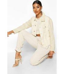 mixed cord jean jacket, ecru
