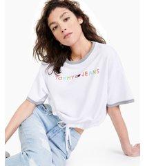 tommy jeans drawstring-hem pullover rainbow-logo top