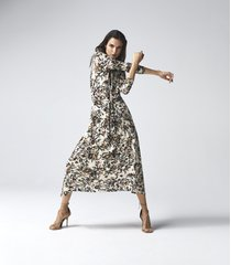 reiss bobby - floral printed midi dress in neutral, womens, size 14