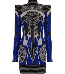 balmain crystal-embellished square-shoulder mini dress - black