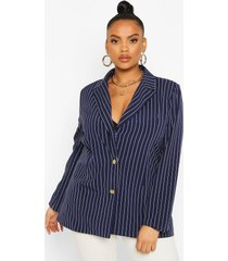 plus pinstripe button detail oversized blazer, navy
