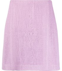 bottega veneta textured leather a-line skirt - purple