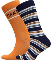 d1. stripe and logo sock giftbox underwear socks regular socks orange gant