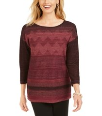 jm collection metallic-stitched drop-shoulder sweater, created for macy's