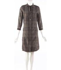 burberry london brown checked cotton silk dress jacket brown sz: xs