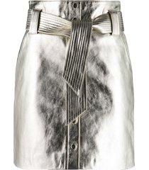 ba & sh pomy metallic lambskin skirt - gold