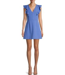 french connection women's flutter-sleeve mini dress - clement blue - size 8