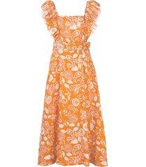 nicholas vestido com estampa paisley e cinto - laranja