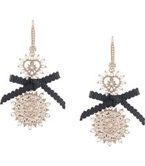 marchesa bow-detail drop earrings - silver