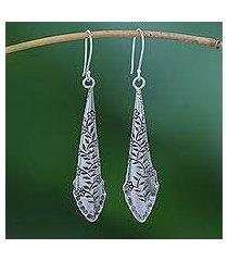 silver dangle earrings, 'dewy garden' (thailand)