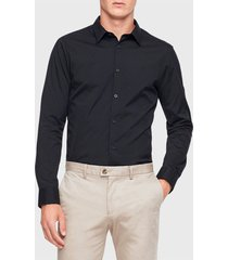 camisa calvin klein ml negro - calce slim fit