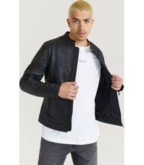 skinnjacka clean leather racer jacket