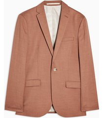 mens brown single breasted skinny fit suit blazer with notch lapels