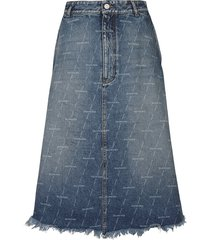 balenciaga logo motif denim skirt