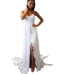 boho bohemian wedding dresses spaghetti straps lace chiffon beach bridal dress