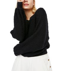 women's free people found my friend boucle pullover, size x-large - black