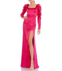 women's mac duggal puff long sleeve satin column gown, size 10 - pink