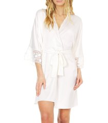 flora nikrooz women's kylie charmeuse lace robe - ivory - size xs/s