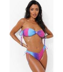 ombre bandeau bikini top met bandjes, blue