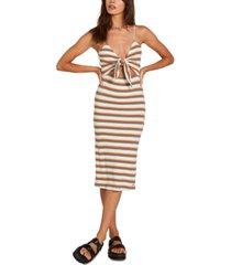 volcom striped dance strides tie-front dress
