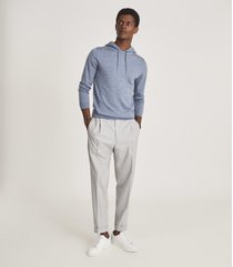 reiss holland - merino wool hoodie in soft blue melange, mens, size xxl