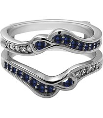 0.30 ct sapphire & diamond 18k white gold fn enhancer wrap engagement ring