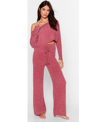 womens chenille good sweater and pants lounge set - rose