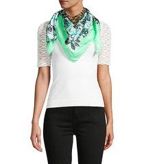 floral & leopard-print silk scarf