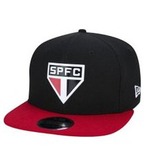 boné new era sn 950 futebol diamond spfc - preto e vermelho