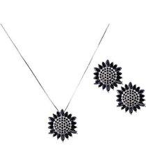 conjunto brinco e colar flor com zircônias negra banho em ródio