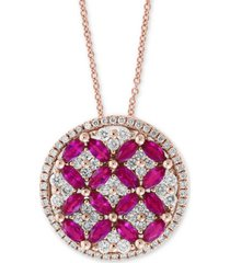 "amore by effy certified ruby (1-1/2 ct. t.w.) & diamond (7/8 ct. t.w.) 18"" pendant necklace in 14k rose gold"