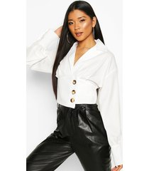 button side structured top, ivory
