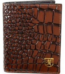 stacy adams leather croc folding card holder