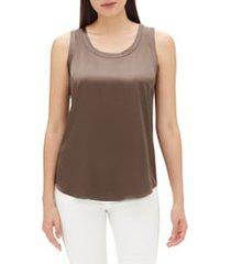 women's lafayette 148 new york perla reversible silk blouse, size small - beige