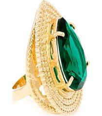 anel  gota  semijoia banho de ouro 18k cristal verde esmeralda - verde - feminino - dafiti