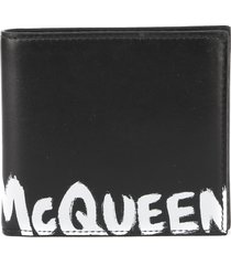 alexander mcqueen leather wallet with graffiti effect logo