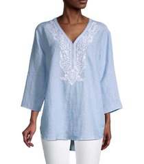 saks fifth avenue women's embroidered linen top - natural - size l