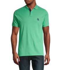 tom & teddy men's solid supima cotton polo - summer green - size s