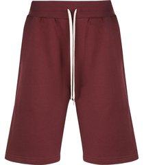 john elliott crimson straight-leg track shorts - red