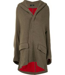 y's oversized hooded cape coat - green