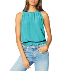 women's ramy brook lauren smock waist sleeveless top, size x-small - green