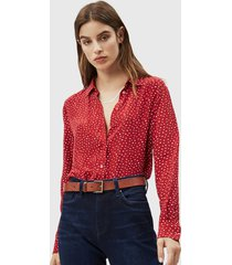 blusa pepe jeans rojo - calce regular