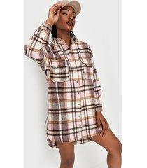 vestido missguided oversized shirt dress brushed multicolor - calce oversize
