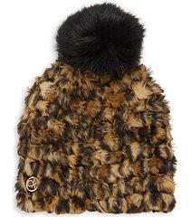 leopard-print faux fur pom-pom hat