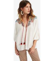 flared viscose blouse - white - xs