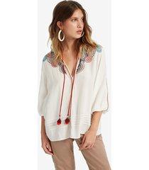 flared viscose blouse - white - xxl